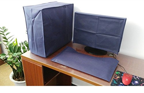 Suit Computer Dust Cover 3 Pieces, Monitor + Keyboard + CPU 19'' Monitor Set (49 x 34 x 7cm) (Navy Blue) Folox