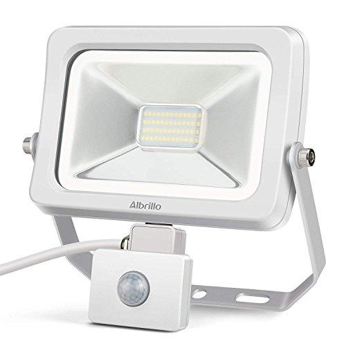 Albrillo LED Flood Light Outdoor Motion Sensor Light, 2400lm 30W LED Security Lights Waterproof IP54 for Yard Patio Garage, Daylight White 6000K