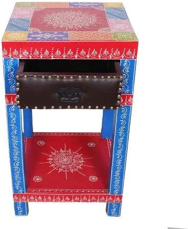 Amazon Com India Handpainted Mango Wood Drawer End Table Night Stand Bedside Table Kitchen Dining These tv tables are made from finest quality mango wood which is finely crafted to provide very durable and high strength furniture. india handpainted mango wood drawer end