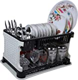 Tupperkart Kitchen Organiser Rack Plastic Kitchen Rack with Water Collecting Tray (Black)