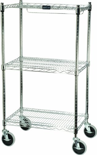 Rubbermaid Commercial 3-Shelf Safety Storage Cart, Chrome (Products 3 Shelf Commercial Rubbermaid)
