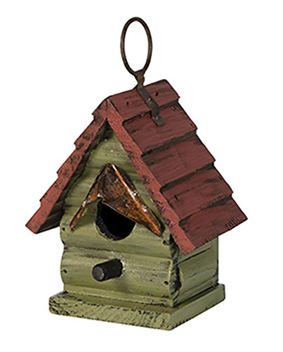 Birdhouse Red Roof - Miniature 5 x 5 Metal and Wooden Indoor Outdoor Birdhouse (Red Roof)