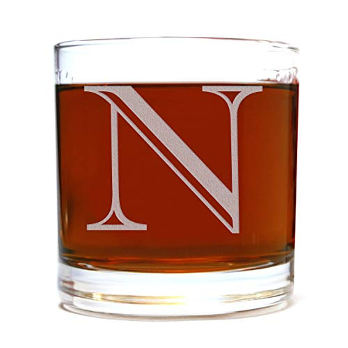 Etched Monogram 10.5oz Rocks Old Fashioned Lowball Glass for Whiskey Scotch Bourbon (Letter -