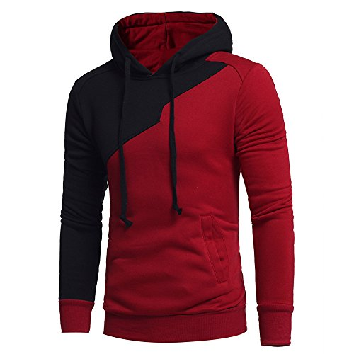 EOWEO Mens' Long Sleeve Patchwork Hoodie Jacket Coat Outwear(Medium,Red)
