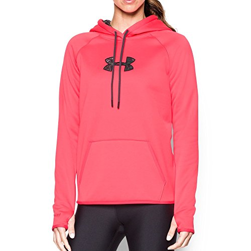 Under Armour Women's Icon Caliber Hoodie, Pink Chroma/Anthracite, Large (Blue Camo Under Armour Sweatshirt)