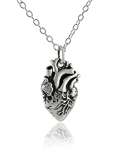 925 Sterling Silver Lifelike Anatomical Heart Pendant Necklace, 18 Inch Chain