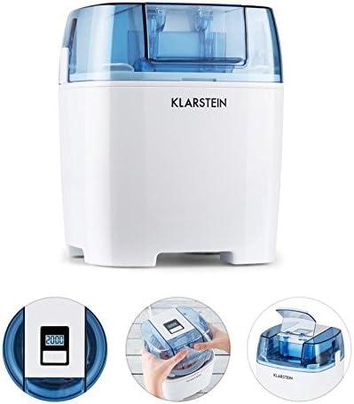 Klarstein Creamberry heladera 4 en 1 - Bajo consumo, Bajo consumo: 10 vatios/h, Capacidad 1,5 litros, Rápido preparado en 20 minutos, Uso sencillo, Apagado automático, Pantalla digital, Blanco