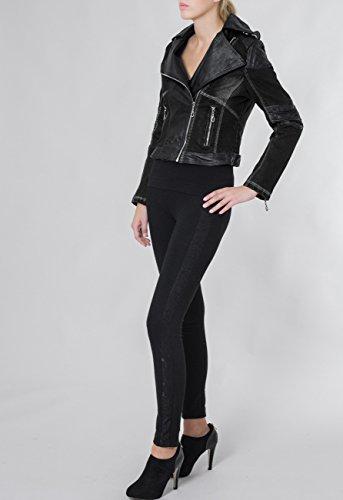 Noir Jeans Jck003 Caspar Veste Imitation Cuir Applications Courte Bleu amp; Perfecto Femme Avec En Pour wPZftq