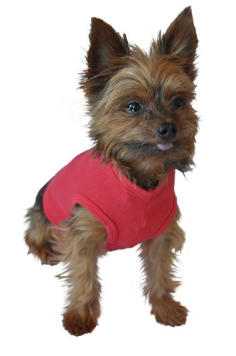 Ruff Ruff and Meow Dog Tank Top, Plain, Red, Large