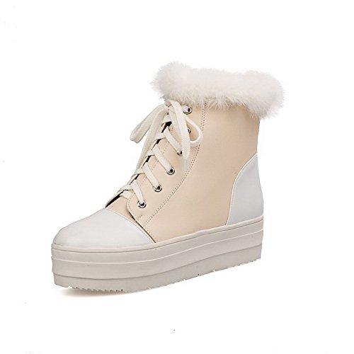 AmoonyFashionWomens Round Closed Toe Heels Kitten Heels Toe PU Short Plush Assorted Color Boots with Platform, Beige, 6.5... B00OLF61XA Shoes 42059e