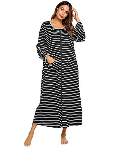 Ekouaer Women Long Robes Zipper Front Full Length House Coat with Pockets Striped Loungewear (A_Printing1_7155, XX-Large)