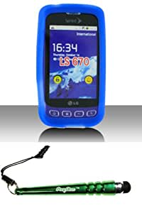 &quotPDA&quot LS670 Optimus S Trans. Dr. Blue Silicon Skin Case Cover Protector Desire Silicone Case Skin Phone Protector Include FoxyCase Stylus cas couverture
