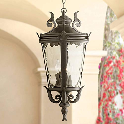 Casa Marseille Traditional Outdoor Ceiling Light Hanging Black Scroll 26 1/4