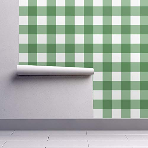- Gingham Wallpaper Roll - Checks Buffalo Plaid Green by Willowlanetextiles - 1 Roll 24in x 27ft