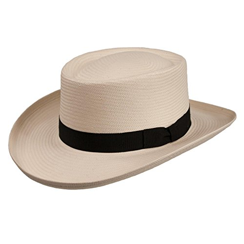 Panama Gambler Hat - Atlantic Gambler Panama Straw Hat (XLarge (fits 7 1/2 to 7 5/8), Natural)
