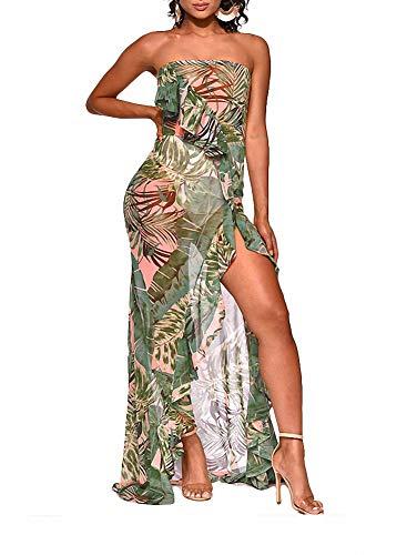 (Ophestin Women Sexy Strapless Floral Leaf Print See Through Mesh Ruffle Hight Split Beach Long Maxi Dress Sundress Light Green L)