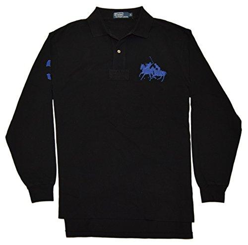 RALPH LAUREN Polo Mens Big Pony Match Pullover Mesh Shirt Black Blue Lt - Number Mens Ralph Lauren 2