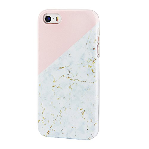 Gold Marble Compatible iPhone SE 5S 5 Case uCOLOR Pink Geometric Dual-Layer Hard Back+Flexible TPU Protective Cover iPhone SE/5S/5