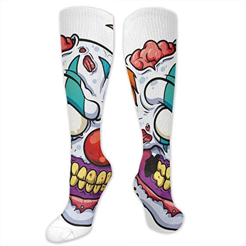 Compression Socks,Zombie Clown Head In Cartoon Style Evil Monster With Scars Halloween Horror Mascot]()