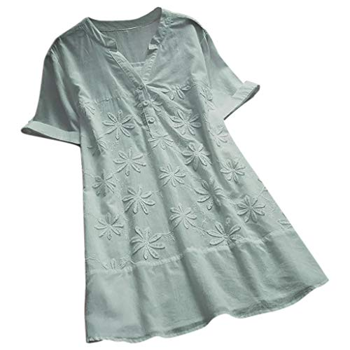 (TUSANG Women Tees Vintage Embroidery Shirts V-Neck Short Sleeves Plus Size Top Blouse T-Shirt Loose Tunic(A-Sky Blue,US-18/CN-5XL))