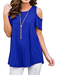 Womens Cold Shoulder Tunic Top Short Sleeve Round Neck Casual T Shirt