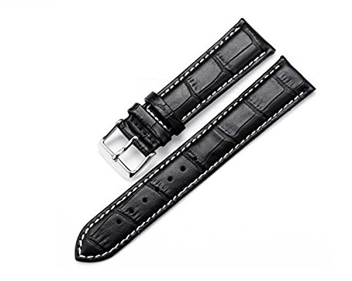 White Alligator Leather Strap (Unisex Black Replacement Watch Strap Alligator Grain Genuine Leather with White Stitching)