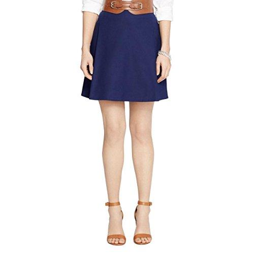 [Lauren Ralph Lauren Womens Pleated A-Line A-Line Skirt Navy 2] (A-line Side Zip Skirt)