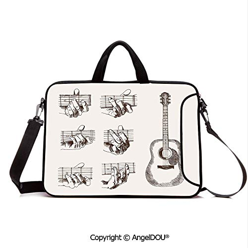 AngelDOU Neoprene Laptop Shoulder Bag Case Sleeve with Handle and Extra Pocket Sketch Art Style Instrument and Chords Acoustic Flamenco Technique Skill Talent Compatible with MacBook/Ultrabook/HP/A