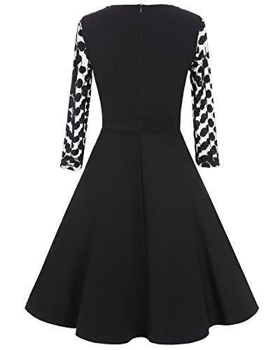 Aecibzo Femmes À Long Polka Dot Robe Vintage Manches Plissée Robes Mi-longues Occasionnels Noir