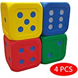Macro Giant 6 Inch Soft Foam Jumbo Big Playing Dice, Set of 4, Red + Blue + Yellow + Green, Math Teaching, Teaching Aids, Board Games, Kid Toy