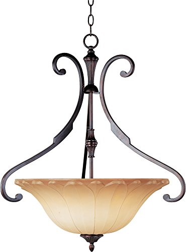 Maxim 13503WSOI Allentown 3-Light Pendant, Oil Rubbed Bronze Finish, Wilshire Glass, MB Incandescent Incandescent Bulb , 60W Max., Dry Safety Rating, Standard Dimmable, Metal Shade Material, Rated Lumens