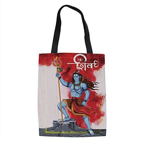 Figure Standing on Rock with Trident Religion Worship Theme Ornate Framework,Multicolor Printed Women Shoulder Linen Tote Shopping Bag ()