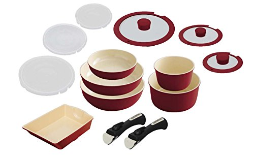 IRIS OHYAMA pot frying pan set Red set taking. ''Ceramic color Pan'' handle 14 H-CC-SE14P by IRIS OHYAMA, Inc.