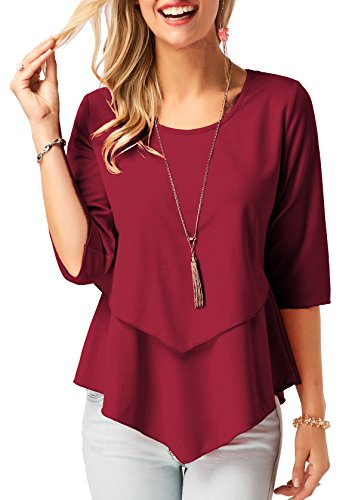 Hi Low Hem Top - Women Solid Dark Red Plain T Shirt Hi-Low Layered Hem Blouse 3/4 Sleeve Tunic Tops