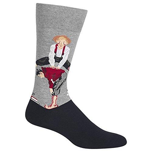 Hot Sox Men's Norman Rockwell Leapfrog Sock, Gray, Size 6 - 12.5