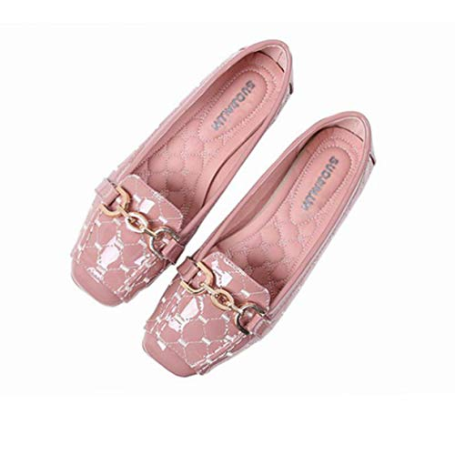 Women Flats, Casual Solid Patent Leather Ballet Buckle Work Office Shoes ()