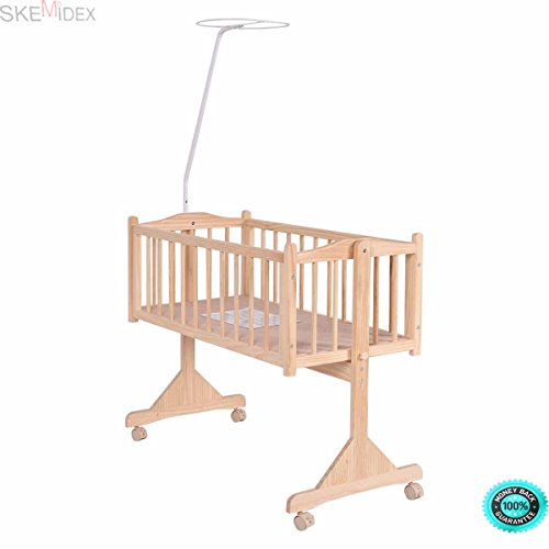 SKEMiDEX---Wood Baby Cradle Rocking Crib Bassinet Bed Sleeper Born Portable Nursery Yellow This Wooden Baby Cradle comes complete with everything your baby needs for sleep by SKEMiDEX