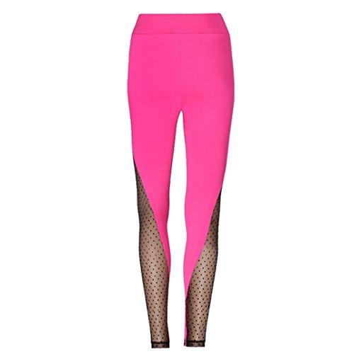 AmyDong Yoga Pants, Women Hight Waist Yoga Sports PantsRunning Gym Fitness Stretch Trouser Mesh Splicing Leggings