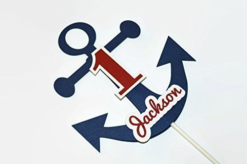 Nautical Anchor Personalized Cake Topper for Birthday Party or Baby (Anchor Birthday Cake)