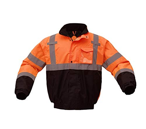 - Bomber Jacket | Hi Vis Bomber Jackets | Waterproof | Quilt-Lined | ANSI Class 3 Compliant | Men or Women (5X-Large, Orange)