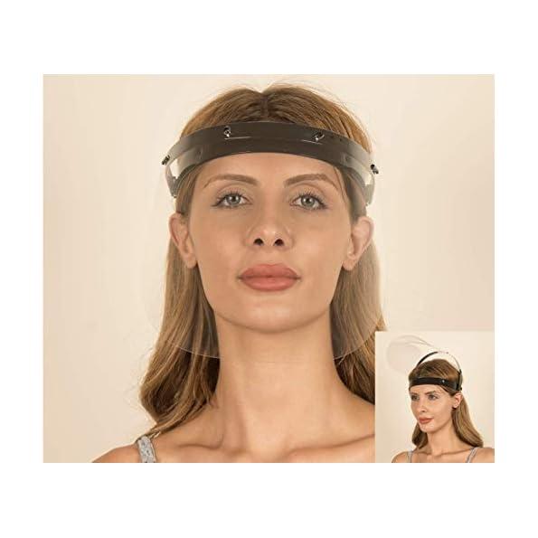 Fredo-Gesichtsschutz-Visier-aus-Polycarbonat-1-X-Halter-mit-je-2-Wechselfolien-Face-Shield-CE-Zertifiziertes-Visier-Aufklappbares-Gesichtsvisier-fr-MnnerFrauenKinder-Schwarz