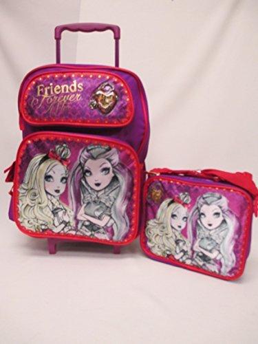 "Ever After High Friends Forever After Large 16"" Rolling Roller Wheeled Backpack Book Bag & Lunch Box Set"