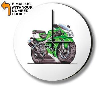 Kawasaki ZX7R Ninja Motorbike Bike Caricature Illustration Photo Clock Relojes de Pared
