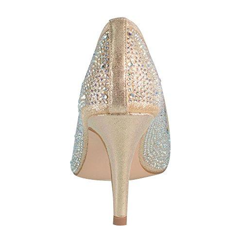 Jolie-1 Dames Strass Middelhoge Instapper Pump Voor Bruiloft Prom Jolie-1 Naakt