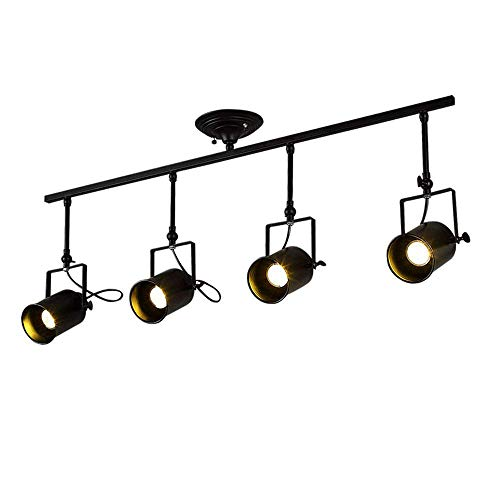 CGJDZMD intage 4-Heads Black Spotlight Light Antique Flush Mounted Wrought Iron Track Lighting Fixture Set Industrial Retro Edison E27 Adjustable Metal Ceiling Lamp for Parlor Bar Cabinet Restaurant
