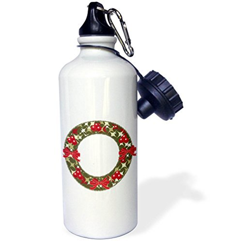 21oz Sports Water Bottle, Christmas - Red and Green Christmas Holly Berry Wreath and Bows - Christmas Wreath Holly Bow