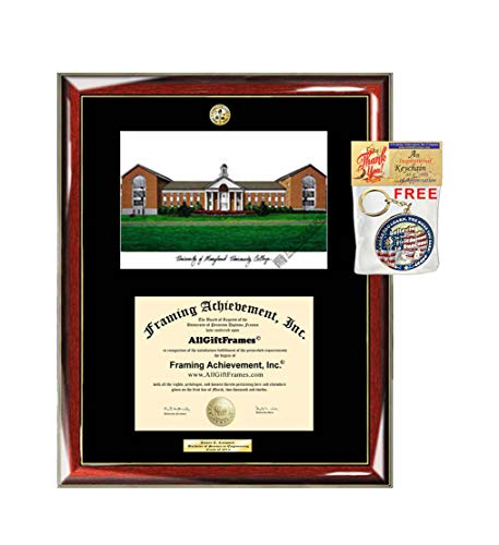 AllGiftFrames University of Maryland University College Diploma Frame School Lithograph Major Logo UMUC Graduation Degree Display Plaque Holder Case Black Matted Graduate Gift (College Lithograph)