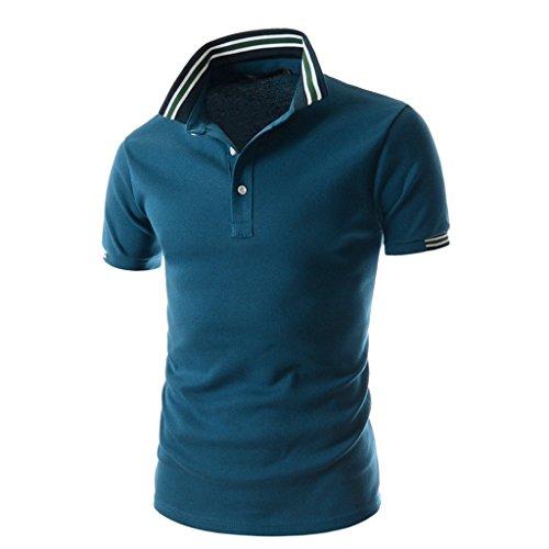 What Lees Mens Urban Casual Basic Short Sleeve Golf Polo Shirts B054-13-Navy-M