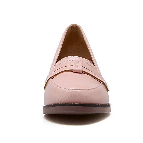 balamasa en heels shoes gras solide Rose Mesdames à pumps enfiler kitten cuir HHqOZ
