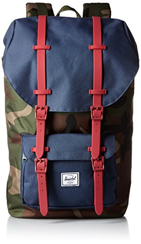 Herschel Supply Co. Little America Rubber, Woodland Camo/Navy/Red, One (Woodland Camouflage Shoulder Bag)